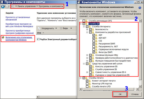 Установка Internet Information Services (IIS) в  Windows Vista