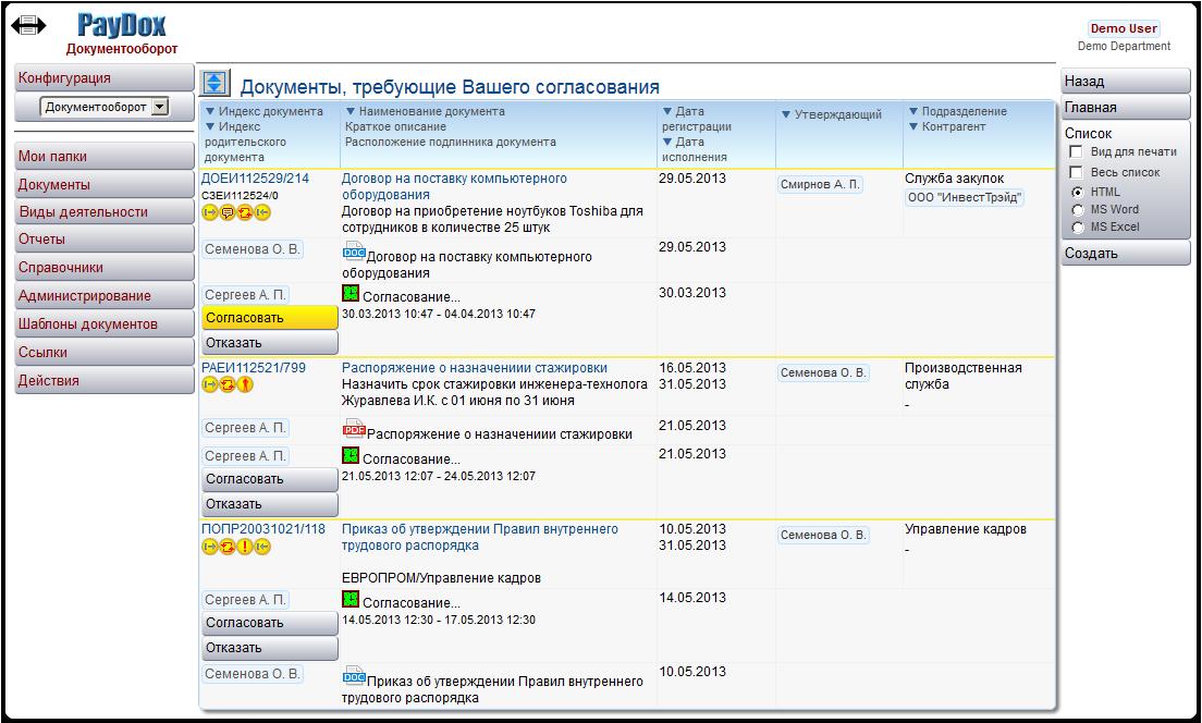Список документов в СЭД PayDox, требующих согласования