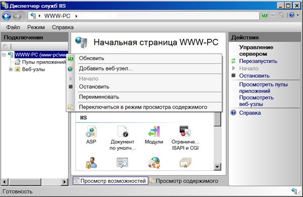 Диспетчер служб IIS