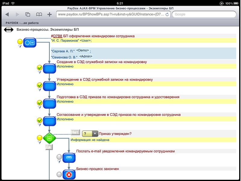 Работа с бизнес-процессами в PayDox на iPad