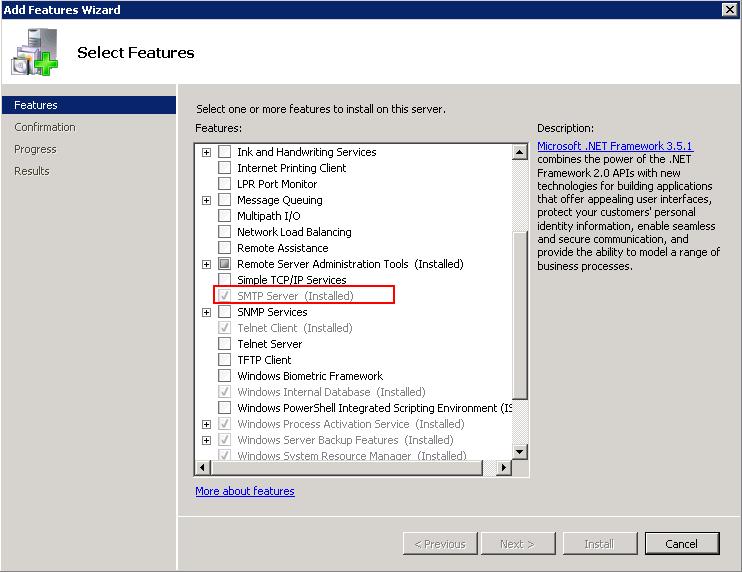 Установка компоненты SMTP Server