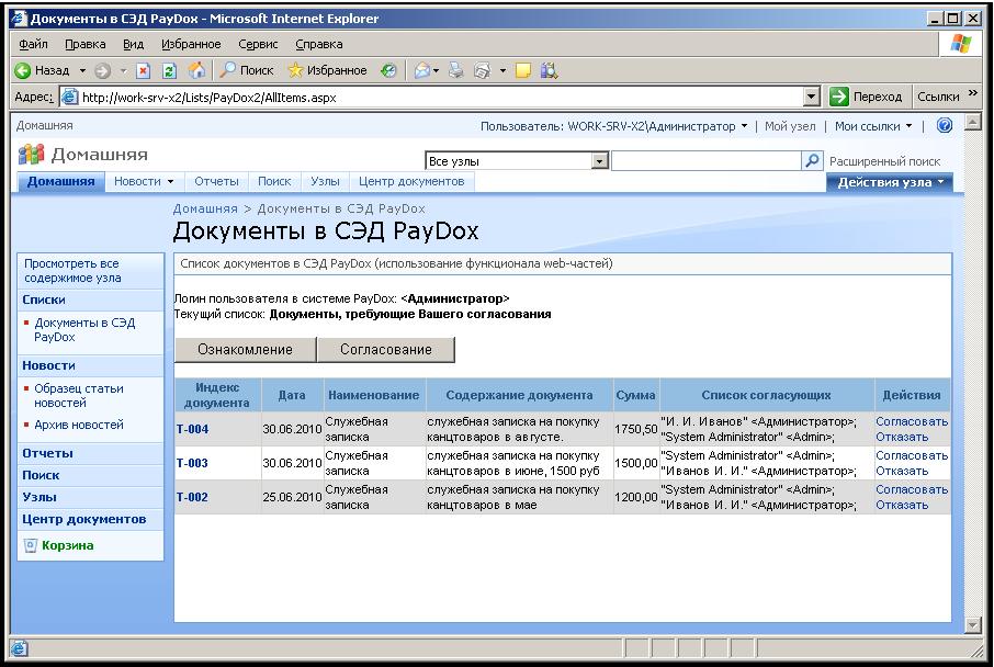 Интеграция СЭД PayDox с MS SharePoint Server