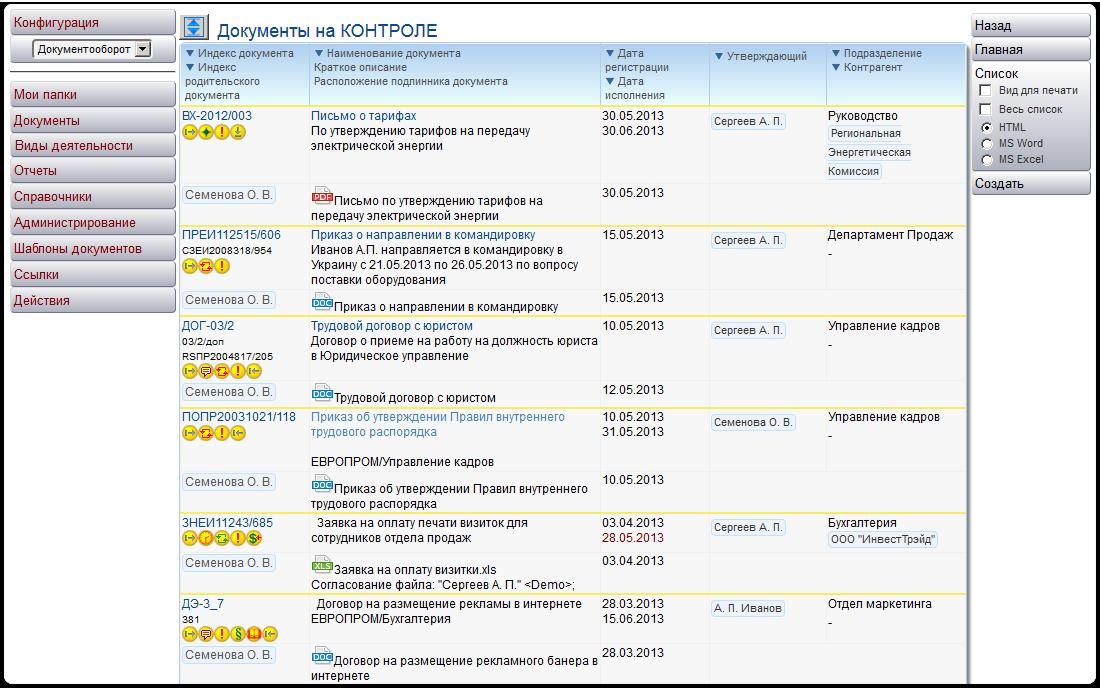Список документов на контроле